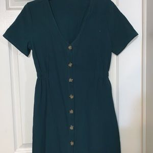Teal button up dress size large SHEIN